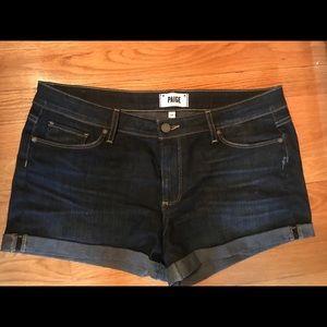 Dark wash Paige denim shorts